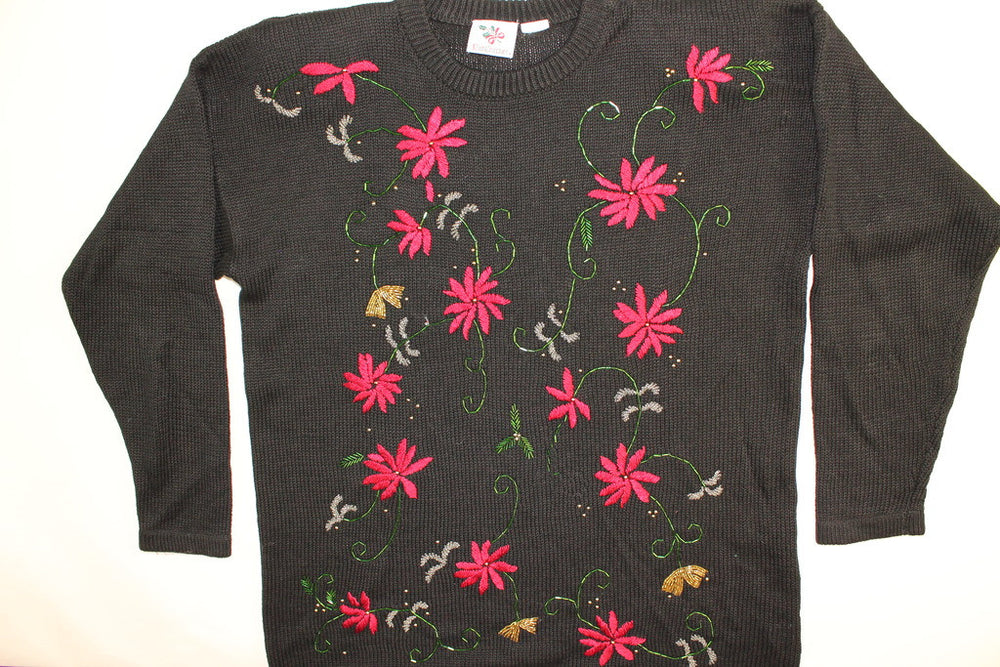 Swirling Poinsettias- Large Christmas Sweater