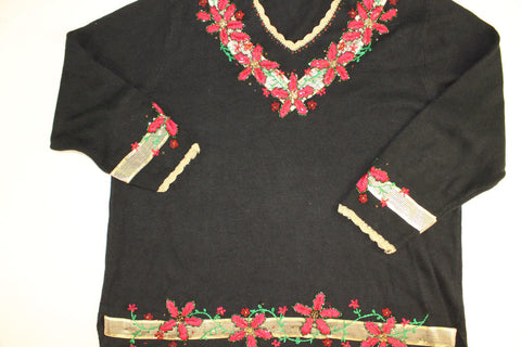 Splash of Golden Poinsettias-  XX Large Christmas Sweater