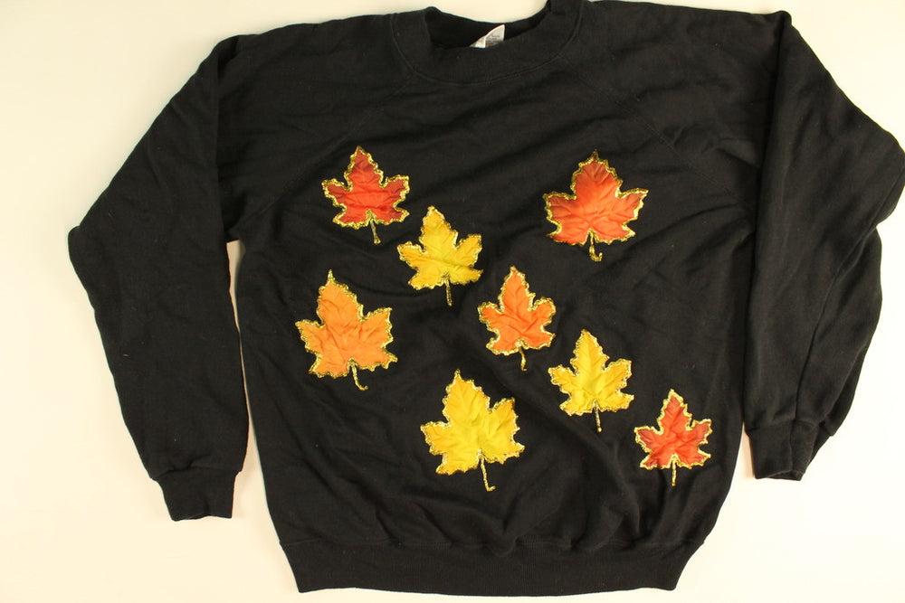 Sparkle Leaves- Large Fall Sweatshirt