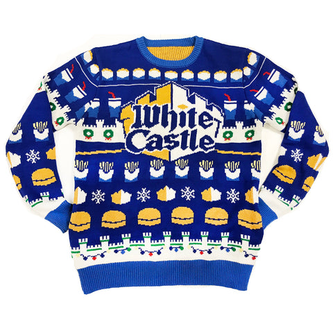 White Castle Restaurant Ugly Christmas Holiday Sweater- What you Crave!