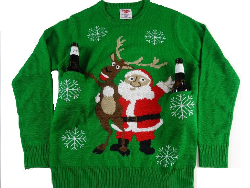 Cheers Santa Reindeer Beer Holder Christmas Sweater The