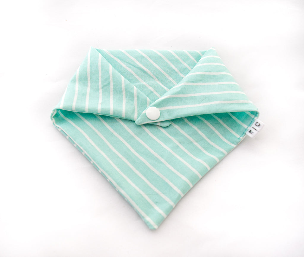 turquoise and white striped cotton dog bandana