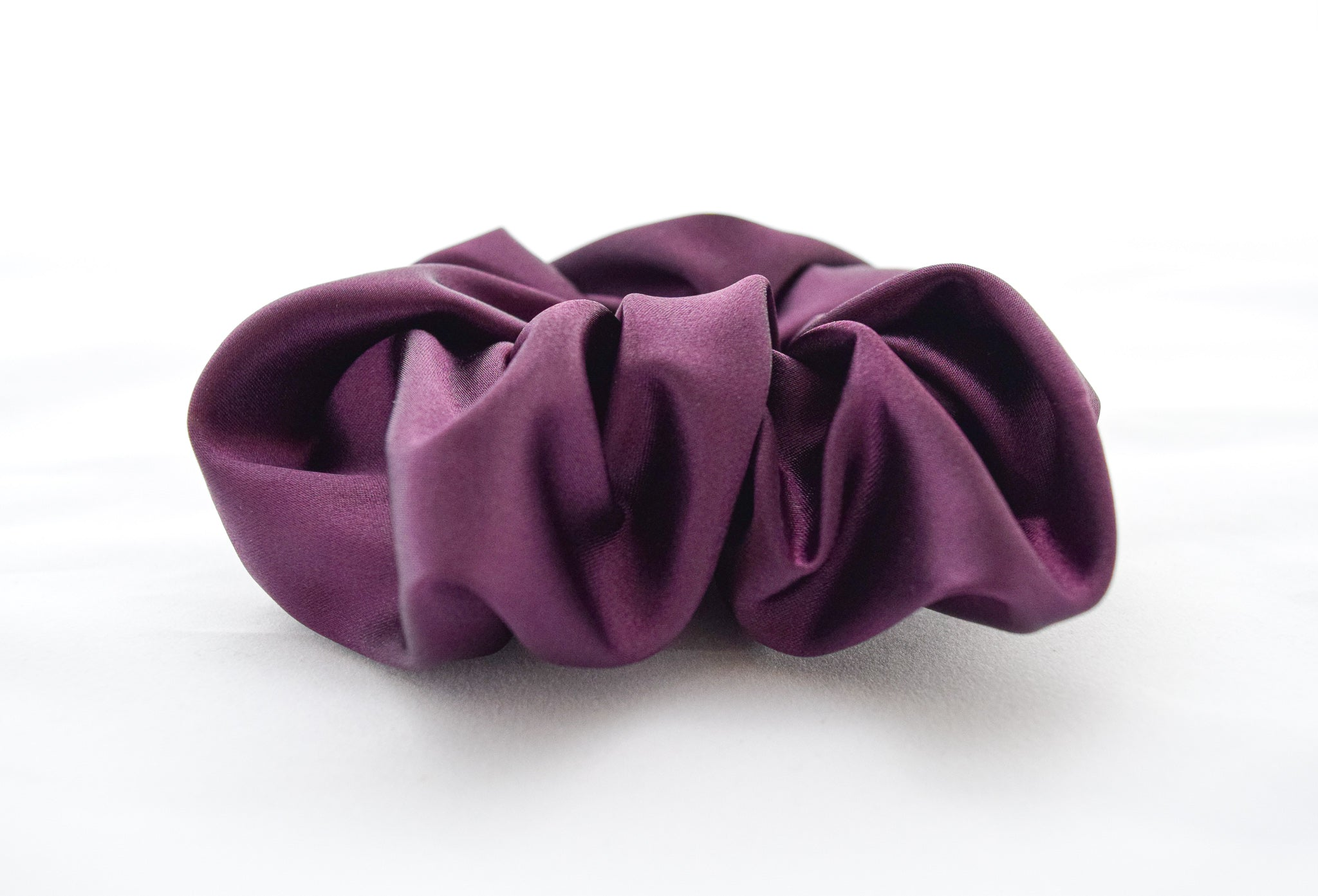 Purple satin scrunchie