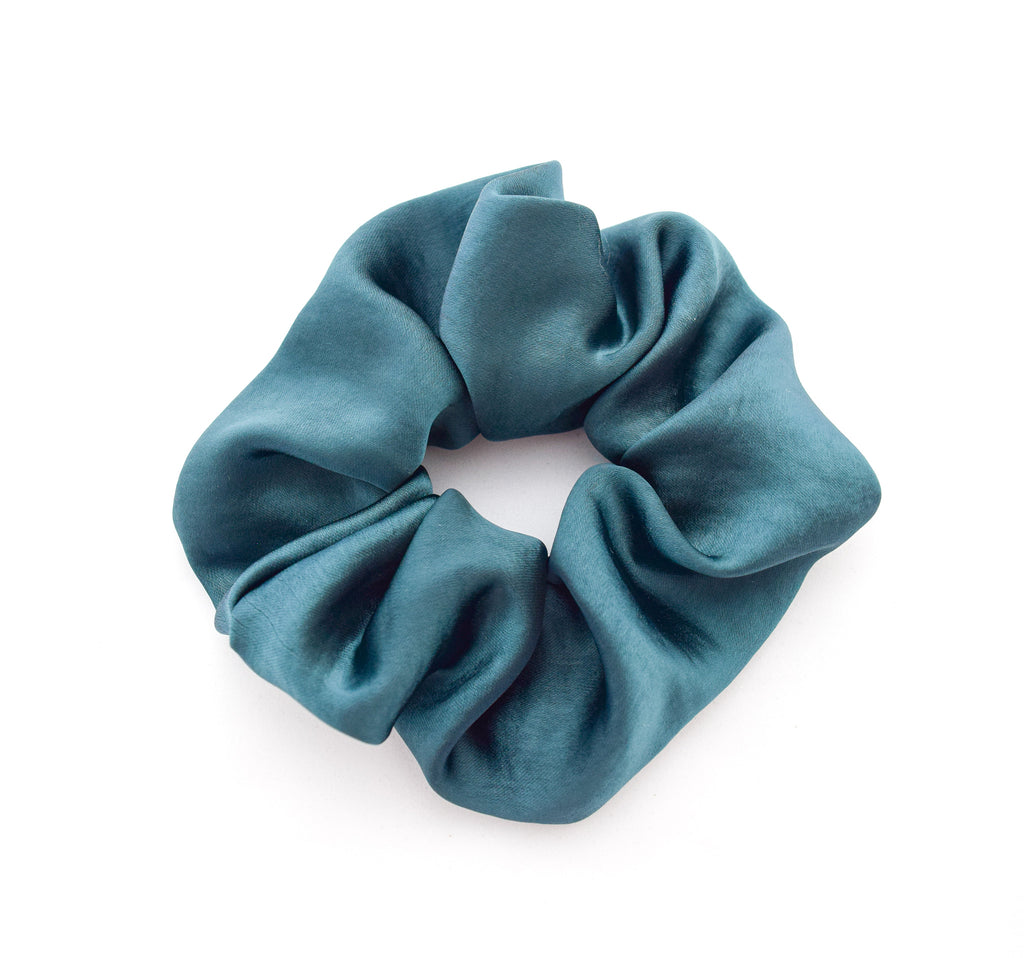 Teal Satin scrunchie