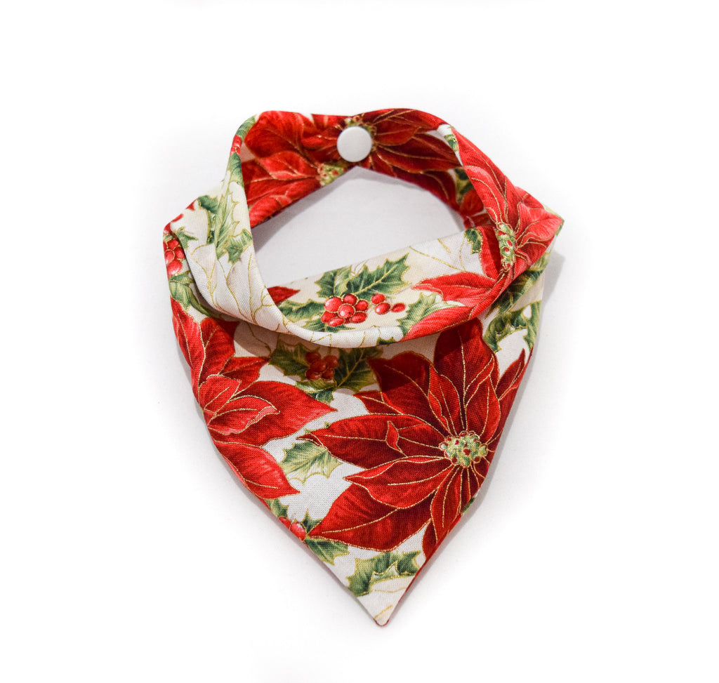 Poinsettia print holiday cotton dog bandana