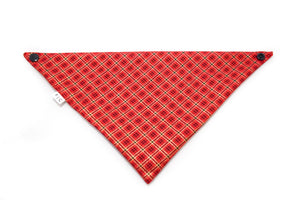 red and gold holiday cotton dog bandana