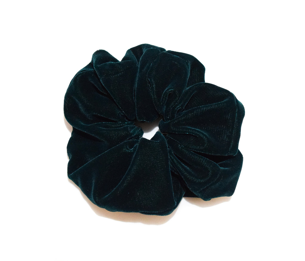 Dark green micro velvet large scrunchie