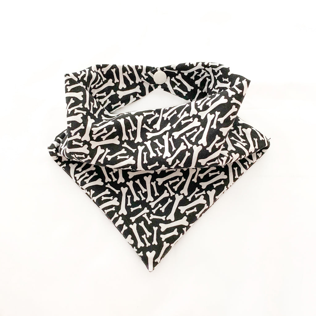 Black cotton dog bandana with white bones