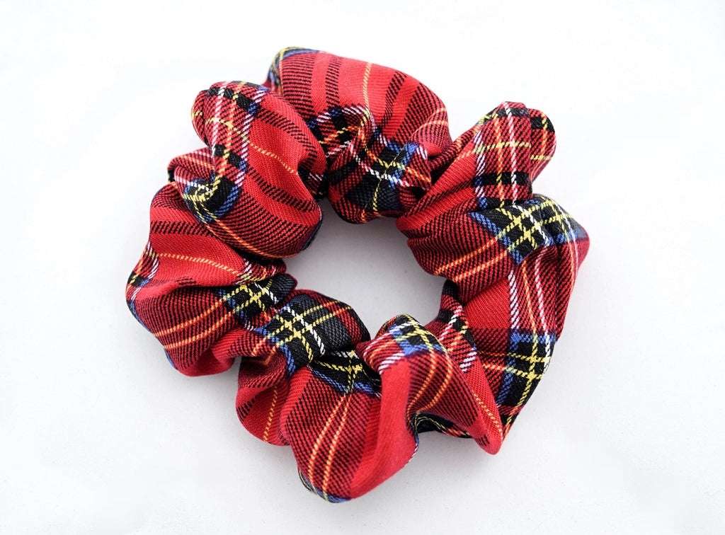 red plaid soft cotton scrunchie
