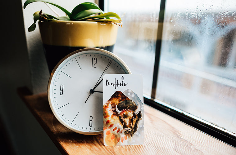 tarot card, clock, and plant in front of rainy window