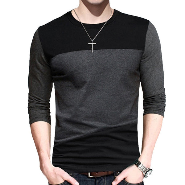 Vintage Style Patchwork Black&gray O-neck Long Tshirt
