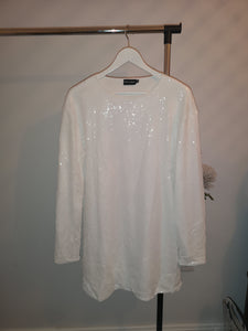 Tall White Sequin Long Sleeve Dress