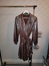 Load image into Gallery viewer, Metallic Mini Wrap Dress
