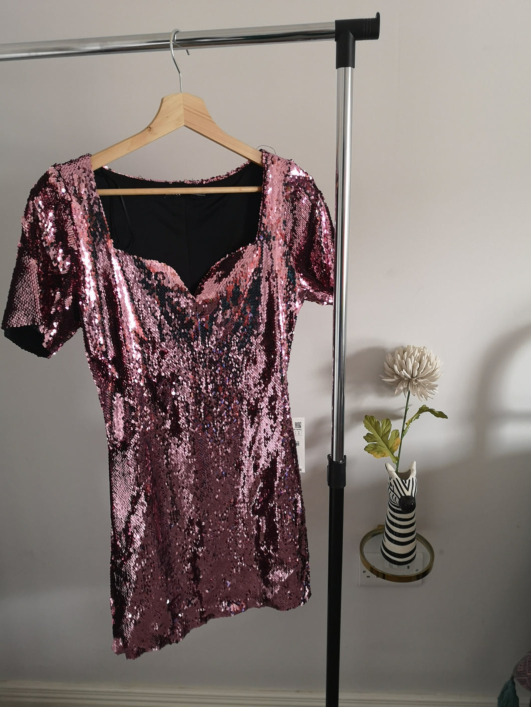 Pink Sequin Mini Dress