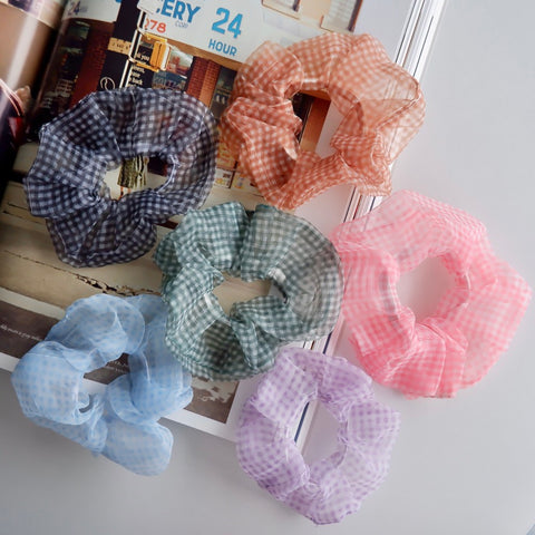 Chiffon Checker Print Hair Scrunchies