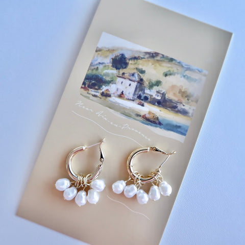 Medium Gold Hoops with Pearls
