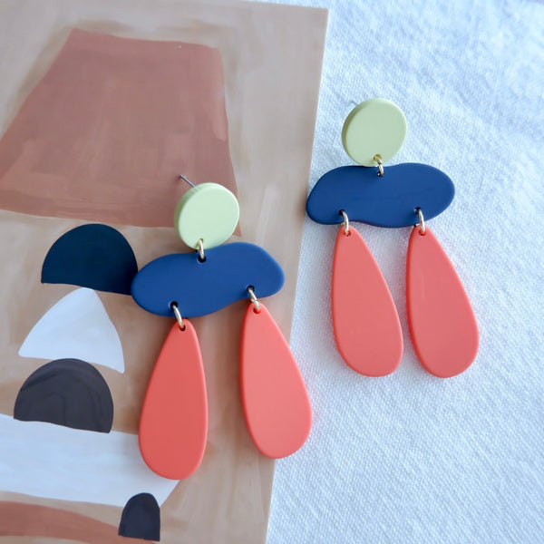 Geometric Color Dangle Earrings