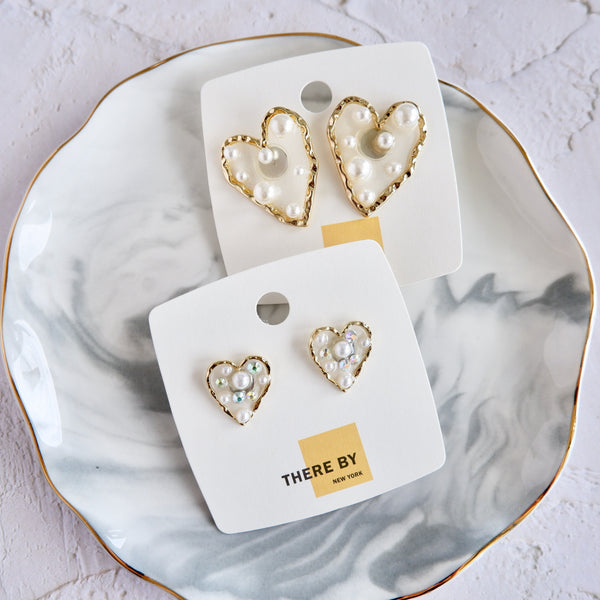 Large Acrylic Heart with Pearls Stud Earrings