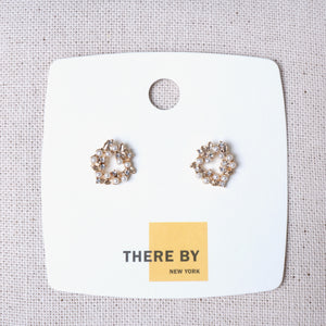 Pearls and Crystal Circle Stud Earrings