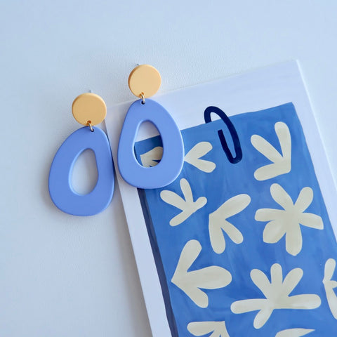 Blue Geometric Dangle Earrings