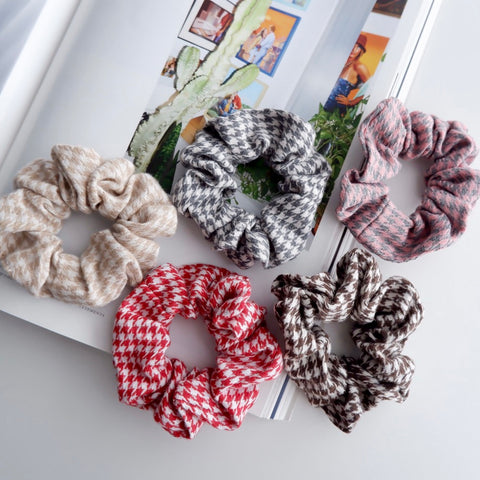 Cotton Houndstooth Scrunchies