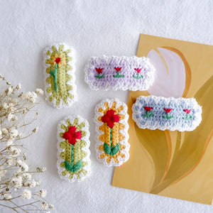 Handmade Crochet Flower Hair Clips