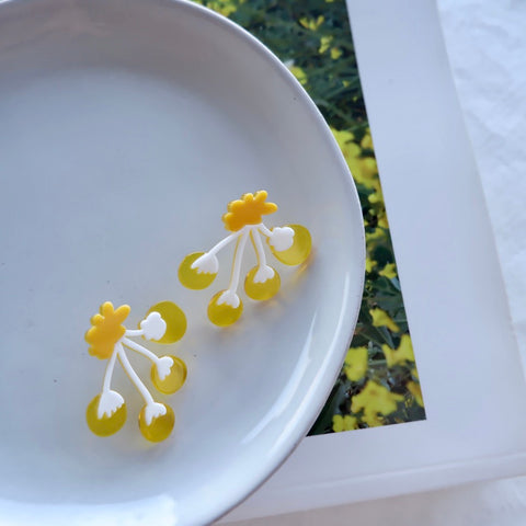 Acrylic Yellow Flower Stud Earrings