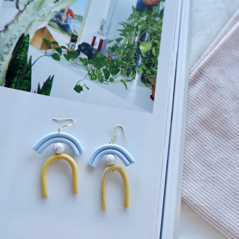 Polymer Clay Blue and Yellow Arch Earrings