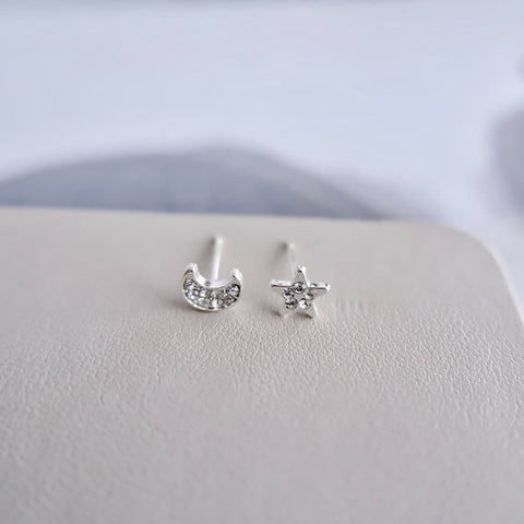 Crystal Moon and Star Mini Stud Earrings