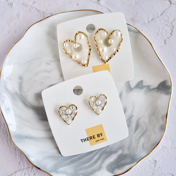 Medium Acrylic Heart Stud Earrings