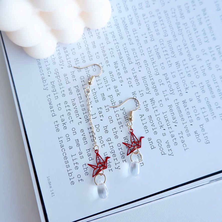 Red Origami Dangle Earrings