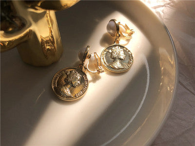 Non-Piercing Gold Coin Clip On Earrings
