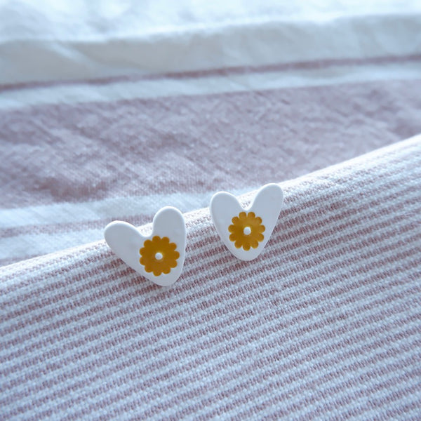 Cartoon Cute Colored Heart Stud Earrings