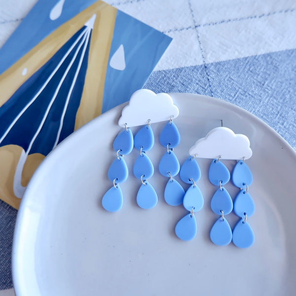 Cartoon Blue Cloud & Rain Drop Earrings
