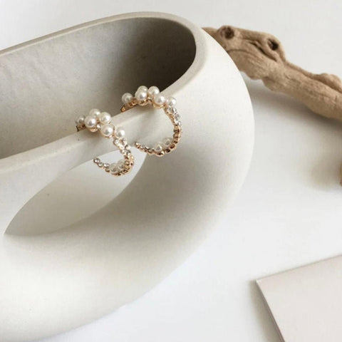 Sophisticated Pearl & Crystal Hoop Earrings