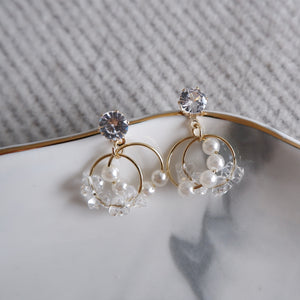 Crystal and Pearl Dainty Earrings