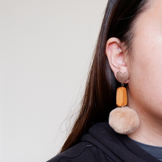 Fuzzy Pom Pom Drop Earrings