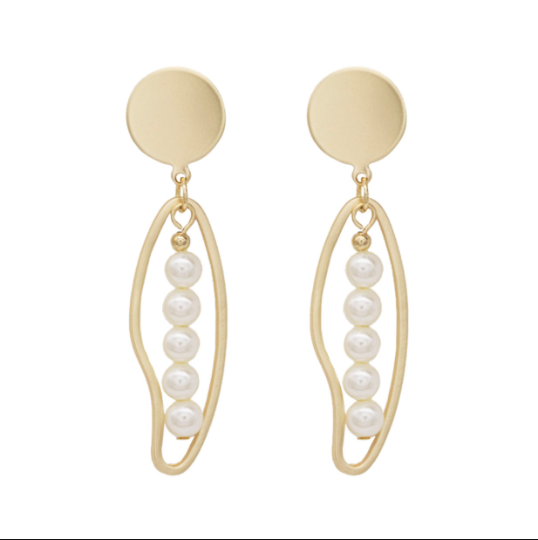 Geo Shape with Pearl Drop Earrings