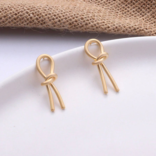 Matte Gold Love Knot Earrings
