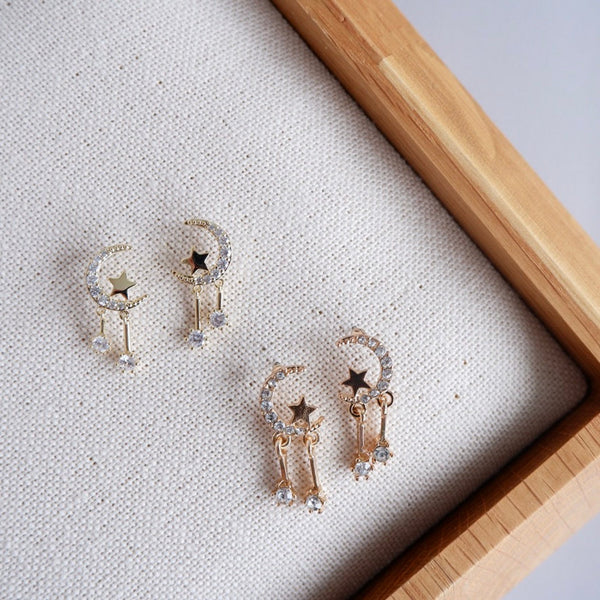 Sparkle Moonlight Dainty Stud Earrings