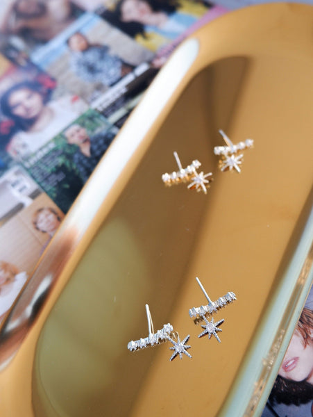 Silver and Gold Starlight Ear Studs Earrings