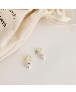 Cute Star and Pearl Front Back Earrings