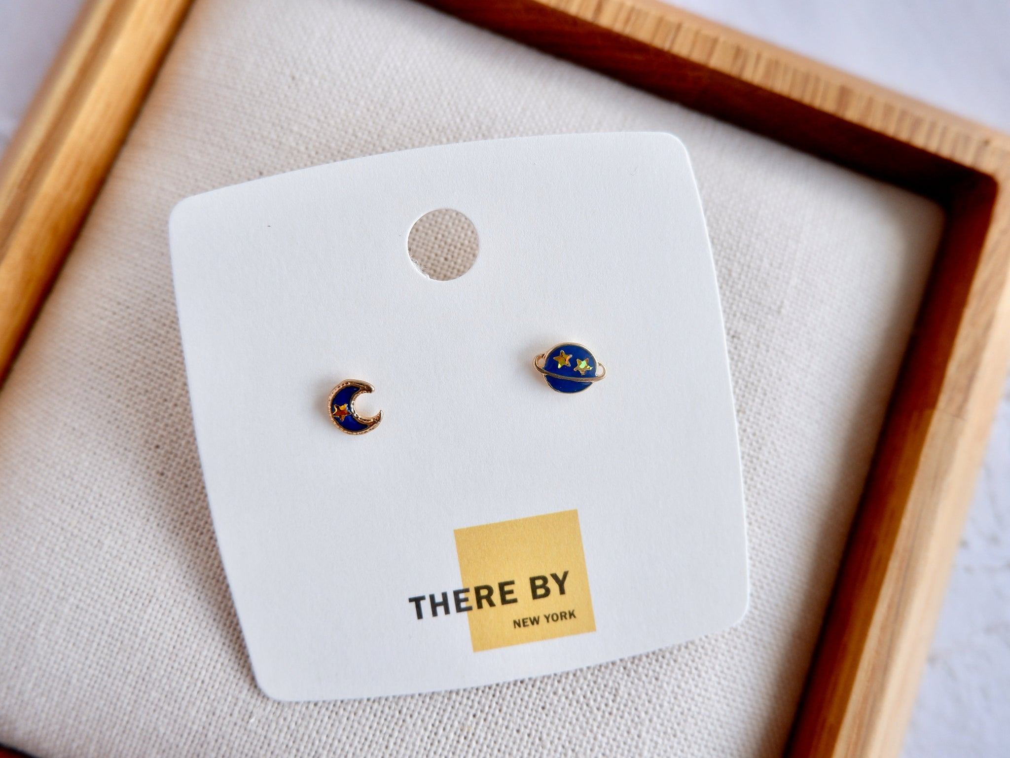 Moon and Planet Stud Earrings