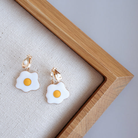 Fried Egg Clip-On Earrings