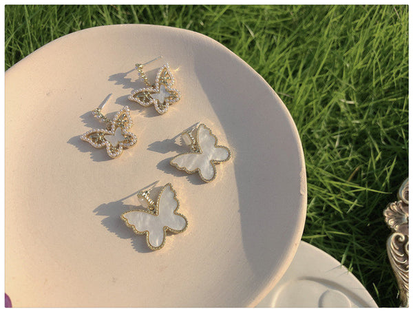 Elegant Opal Butterfly Earrings