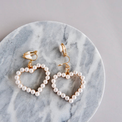 Clip-on Heart Earrings
