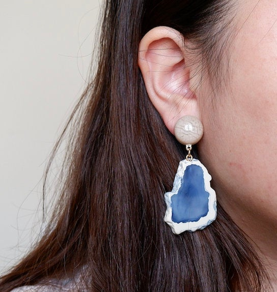 Clip-on Sapphire Blue Statement Earrings