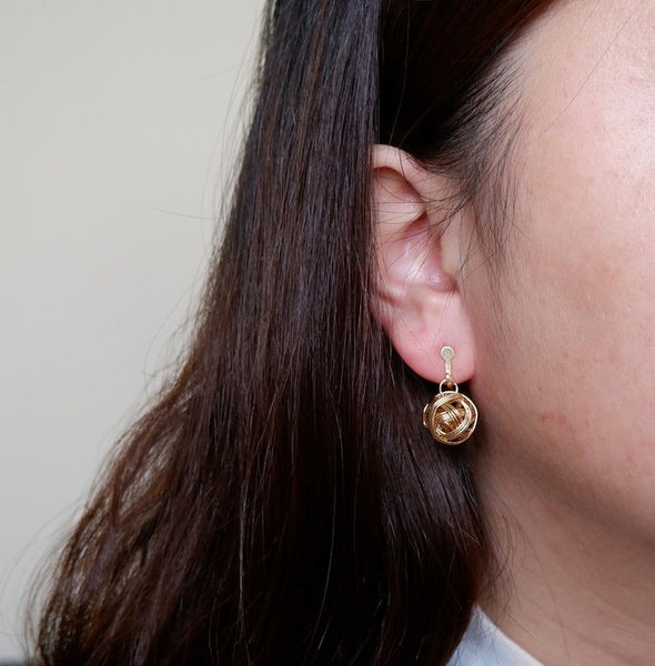 Clip-On Gold Ball Shape Earrings
