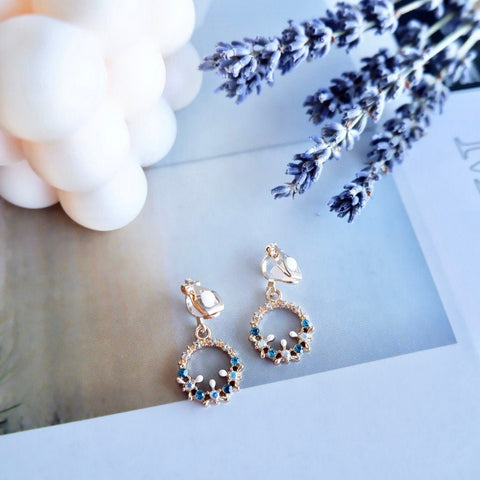 No Piercing Clip-on Crystal Gold Earrings