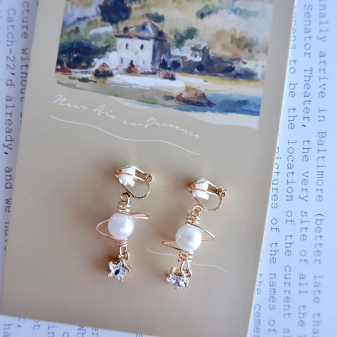 No Piercing Clip-On Celestial Dangle Earrings